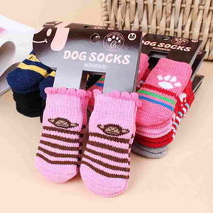 Haustier Hund Katze warme Socken für Winter Cute Puppy Soft Cotton Anti-Rutsch-Knit Weave Sock Skid Bottom Socken Kleidung 4 teile / satz