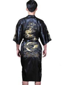 História de Xangai cetim de Poliéster Dos Homens Chineses Bordado Robe Kimono Camisola Dragão Sleepwear M L XL XXL 3XL