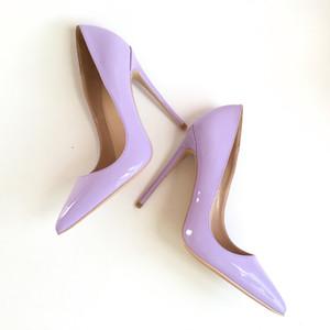 Neue lila Lack spitzen hochhackige Schuhe mit hohem Absatz 12CM super hochhackige modische sexy Damenschuhe, angepasst 33-45 Yards.