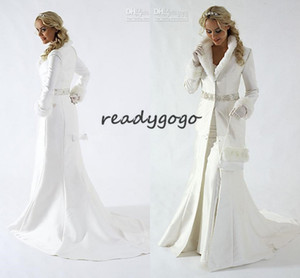 V intage Wnter Warm Fur Wedding dresses jacekt 2019 New Style Beading Floor Length Wedding Jackets Bridal Bolero With Long Sleeve