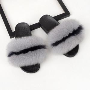 Pantofole in pelliccia di volpe Coolsa Luxury da donna Fluffy Real Designer di capelli Infradito Ladies Sandalo carino Fashion Furry Woman