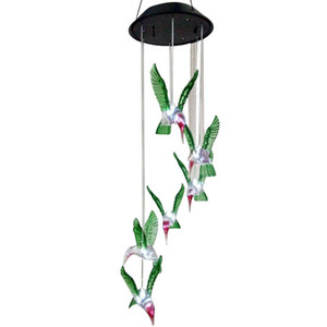 Humming Bird Solar Power LED Solar Light Lighted Yard Led Outdoor Light Garden Path Decoration Wind Chime Lamp White