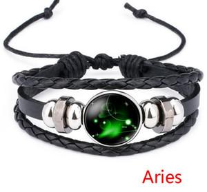 12 Horoskop Zeichen Armband 18mm Star Constellation Noosa Chunks Ingwer Druckknopf Leder Multilayer Armbänder Punk Armbänder
