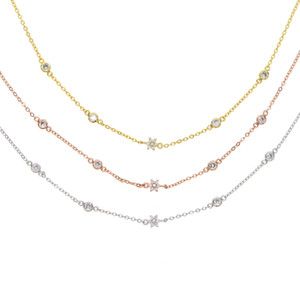 lunette collier station cz fleur de bijoux Fashioin de points ronds pour les femmes élégance chaîne choker bijoux chaîne simple tendance