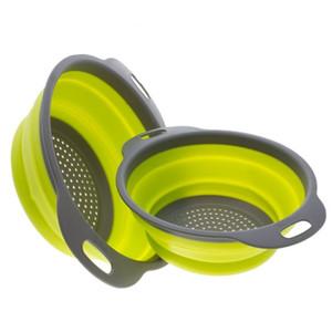 Accessoires de cuisine Pliable Silicone Passoire Fruits Légumes Panier À Laver Crépine Égouttoir Pliable avec Poignée Outils De Cuisine