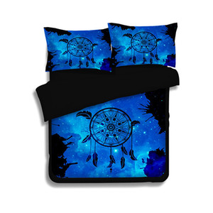 Copripiumino Feather Dreamcatcher 3D Set Copripiumino Bohemian Set Boho Copripiumino Hippie blu US Twin Full Queen King Size