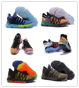 2018 Popular O que o KD X 10s Gelo Azul Rosa Verde Yuanyang Basketball Shoes Mens 10 s Alta Qualidade Kevin Durant 10 EP Esportes EUA 7-12