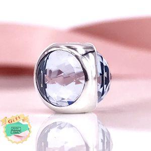 Authentic 925 Sterling Silver Aqua Azul Radiante Gota Fit Charme DIY Pandora Pulseira E Colar 792095NAB