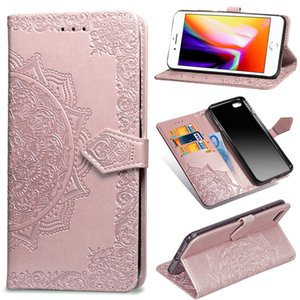 Mandala flor cartera Flip PU cuero Caser para iPhone XS Max XR X 8 7 6 Samsung S8 S9 Nota 9 A6 A8 J2 Core J3 J4 J6 Plus A7 2018 A750