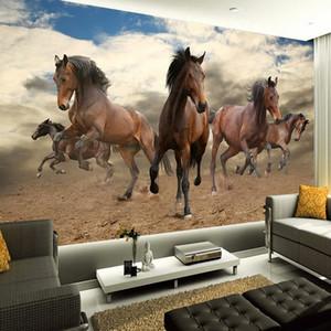 Özel 3D Duvar Kağıdı dokunmamış Stereoskopik Galloping At Ev Dekorasyon Duvar Sanatı Oturma Odası Yatak Odası Duvar Kağıdı Rulo Için