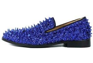 2018 высокое качество скольжения мокасины EU39-EU46 мужчины блеск шипами обувь королевский синий одуванчик квартиры свадебные туфли для мужчин
