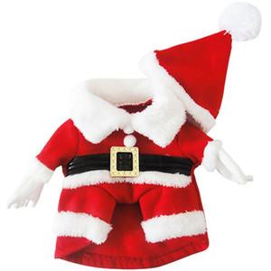 Nouveau Costume Pour Chien De Noël Dress Up Produits Avec Chapeau Chiot Chien Chat Fournitures Outwear Vêtements Rouge Ceinture Manteaux