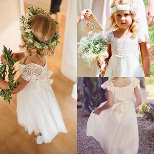2019 encantadoras muchachas de flor vestidos encaje mangas capsuladas vestidos de fiesta de boda de cuello cuadrado con vestido de princesa de gasa de la cinta