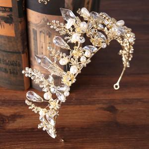 Lüks Gelin Taçlar Yapay elmas Kristaller Masquerade Düğün Pastası Taçlar Kafa Saç Aksesuarları Parti Tiaras Barok şık Doğum