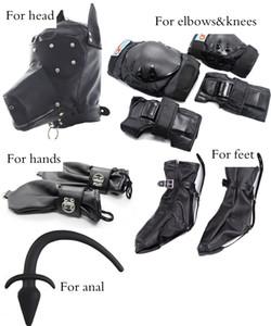COURO BONDAGE HOOD máscara Chapelaria / palmeiras cão pés / joelhos cotovelos equipamentos de proteção brinquedos produtos Sex