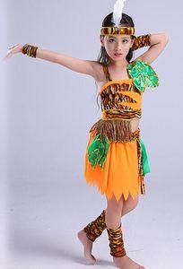 2018 Novo estilo crianças Cosplay Primitivo traje Traje Selvagem Meninos e meninas de Dança traje Conjoined