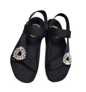Sandalias de verano de las mujeres boutique de calidad superior de lujo noble hebilla de tela de diamantes moda suave marca plana sexy nightclub sandalias ocasionales de la muchacha