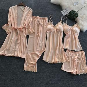 Conjunto de pijama de mujer Cinturón de otoño Cojín en el pecho Conjunto de cinco piezas Pijama de seda fina Hielo Ropa de abrigo Pijama de túnica Versión coreana Sling pijama