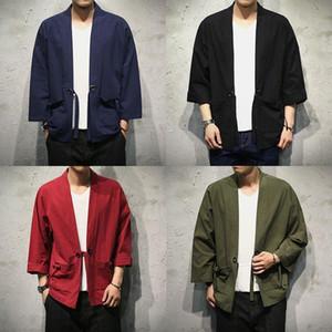 Sinicism Store Algodón Camisas de lino Hombres Kimono Camisa de punto abierto tradicional Cinturón de bolsillo Hombre Camisa de manga tres cuartos Harajuku