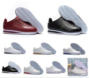 Классический Cortez Basic Leather Повседневная обувь Дешевые Мода Мужчины Женщины Черный Белый Красный Золотой Скейтбординг кроссовки Размер 36-45