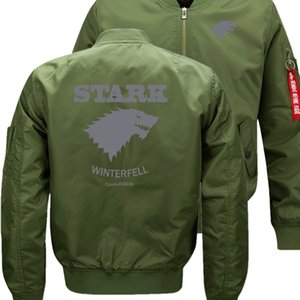 Wolf Direwolf Ghost Bomber Flug Flying Jacket Winter verdicken Warm Zipper Männer Jacken Anime Männer Casual Mantel