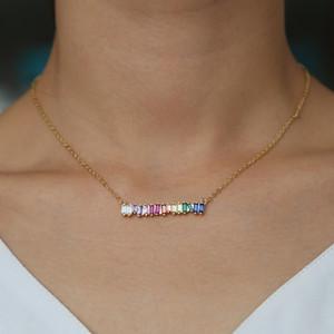 2018 Nouvelle arc-en-géométrie pendents mode collier coloré barre de strass cz colliers choker femmes déclaration de gros bijoux