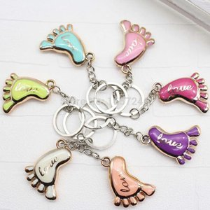 500pcs lot Cute Mini Foot Shaped Keychains Love Keyrings for Baby Shower Baptism Gifts Giveaway Souvenirs Free DHL Shipping