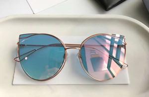 Ladies 0115 Metal Gold Blue Cat Eye Sunglasses Sonnenbrille Designer Gafas de sol Eyewear Glasses Fashion Nuevo en caja