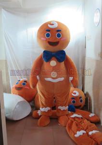 Lebkuchenmann-Maskottchenkostüm Freie Verschiffen-erwachsene Größe, luxuriöse Plüschspielzeug-Karnevalspartei des Lebkuchens feiert Maskottchenfabrikverkäufe.