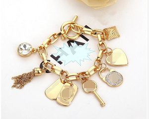 Aşk kalp taş ile sıcak Alaşım anahtar bilezikler 925 ayar gümüş veya altın kaplama kolye Charm Bilezikler Bileklik takı erkekler kadınlar için