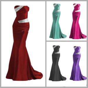 2020 barato satén de la sirena vestidos de dama de Borgoña gris plata púrpura azul dama de honor vestidos de los vestidos de noche vestidos de baile