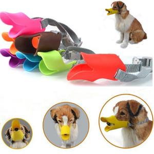 9 colores Anti Bite Pato Boca Forma Boca Cubiertas para perros Anti-llamado Bozal Máscaras silicona Pet Boca Conjunto Mascotas Máscaras