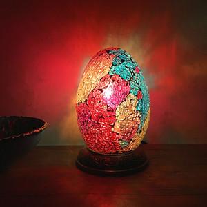 이집트 달걀 책상 램프 침실 밤 사이드 램프 레트로 로맨틱 이국적인 손 모자이크 유리 책상 램프