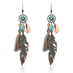 Vintage Bohemia Shell Beads hoja de la flor verde de la borla cuelga los pendientes colgantes de la gota pendientes del encanto de las mujeres Eardrop joyería de moda