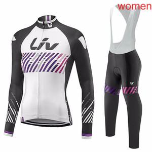 2018 Mujeres Liv ropa ciclismo manga larga Pro ciclismo jersey Bicicleta babero pantalones largos Conjunto ropa ciclismo A0603