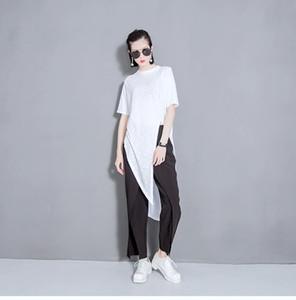 O-cou Nouvel Été Col Rond À Manches Longues Gris Irrégulier Ourlet Individualité Top Marée De La Mode Les Femmes Coréennes T-Shirt Femme