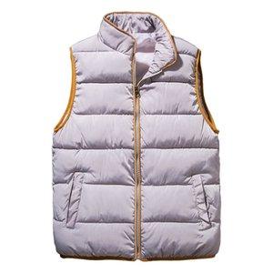 2018 para mujer sin mangas Parka chaqueta chaleco de algodón nuevas damas invierno cálido chaleco Color sólido grueso Famale informal chaqueta básica abrigo