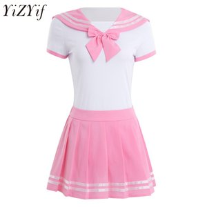 YiZYiF Donne Sexy Cosplay studentessa studentessa Studente Uniforme Snap Crochet pagliaccetto con minigonna anime Role Play Costume Suit