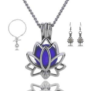 Oco De Cobre De Metal de prata flor de lótus Amor Desejo Pérolas Gaiola Medalhão Conjuntos de Jóias de Pérolas de Água Doce Pingente de Ostra Pulseira Brincos Neckla