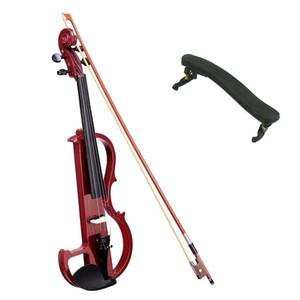 4/4 Violino Elétrico Tamanho Completo Madeira Silencioso Encaixes Fone De Ouvido Jujuba Vermelho Com Ombro Resto