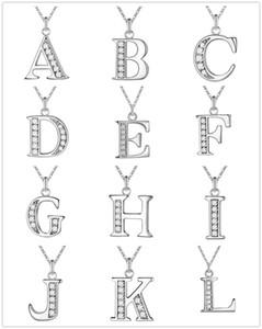 Yaratıcı 26 Harfler A-Z Kristal Takı Kolye Kolye Gümüş Renk Bayan Moda Takı için Ucuz Toptan