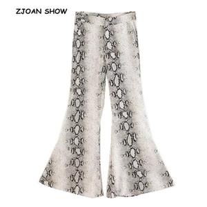 Estampado de serpiente étnica impresión flare pantalones mujer bohemia tribal africana impresión pantalones largos campana leggings inferiores hippie pantalones