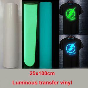 """Freies Verschiffen 1 Blatt 10 """"x40"""" / 25cmx100cm Luminous Wärmeübertragung Vinyl noctilucent Hitze-Presse-Maschine T-Shirt Eisen auf HTV Druck"""