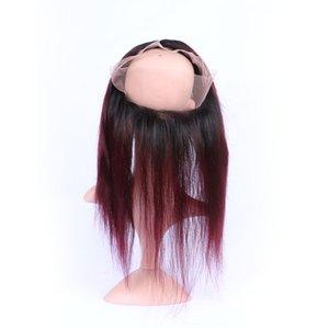 360 Lace Frontal 22,5 * 4 * 2 « » Vierge Remy Dentelle Bande brésilienne Cheveux 99J Bourgogne Silky droite avec bébé cheveux autour