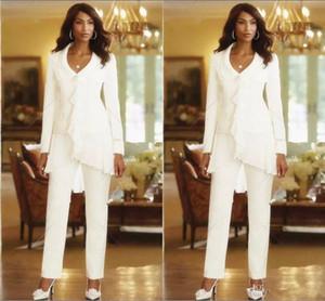 Chiffon bianco madre della sposa Pant Abiti da sposa taglie forti del cliente i vestiti su Madri Fatto Outfit Madre dei vestiti dello sposo