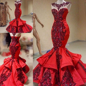 Brillantes lentejuelas apliques de encaje sirena noche vestidos formales 2018 modesto volantes falda cola de pescado Yousef Aljasmi rojo vestido de fiesta de lujo