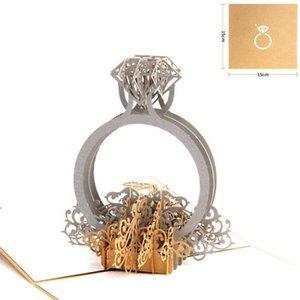 Gold Laser Cut 3d Ring Pop Up Hochzeitseinladungen Romantische handgemachte Valentinstag für Liebhaber Postkarte Gruß Geschenkkarte