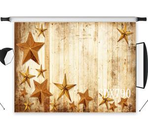 Оптовая продажа Полиэстер Винил Старинные Деревянные Доски Коричневый Старые Звезды Фоны Фон Для Фотостудии Фон Фото Реквизит Декор