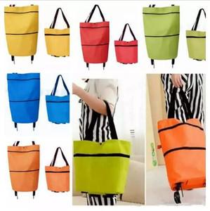 Портативный складной хозяйственная сумка тележка рука многоразовые хранения хозяйственная сумка на колесах прокатки продуктовый сумка
