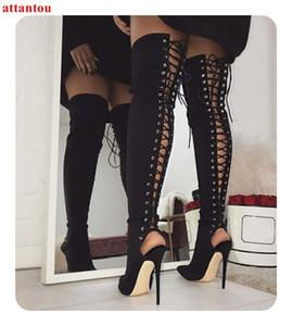 Siyah Süet kadın uzun çizme lace up kesim çıkışları tasarım ince topuk sivri burun kadın over-the-diz boot sonbahar kış moda ayakkabılar